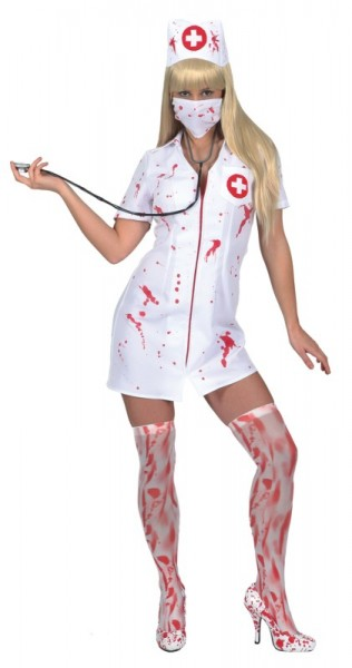 Blutige Krankenschwester (Kleid, Haube, Mundschutz) in den Größen 36/38 bis 44/46