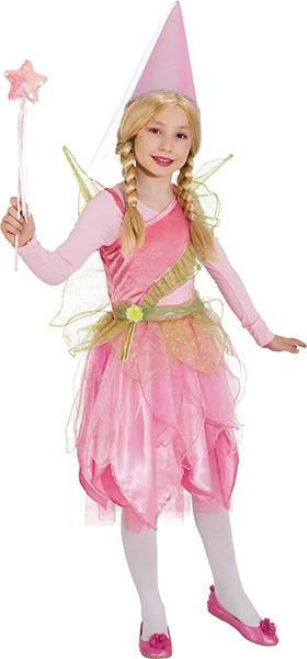 Fee Kleid, rosa/hellgrün (Kleid mit Flügeln) - Größe: 104 - 140
