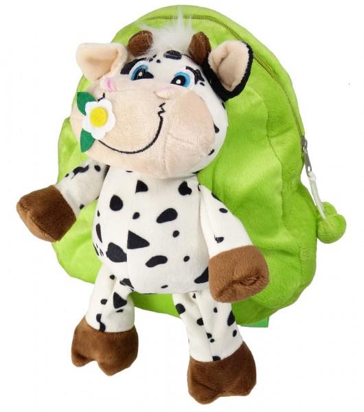 Niedlicher Kuh-Rucksack für Kinder - 28 cm hoch - sehr leicht und flauschig - grün