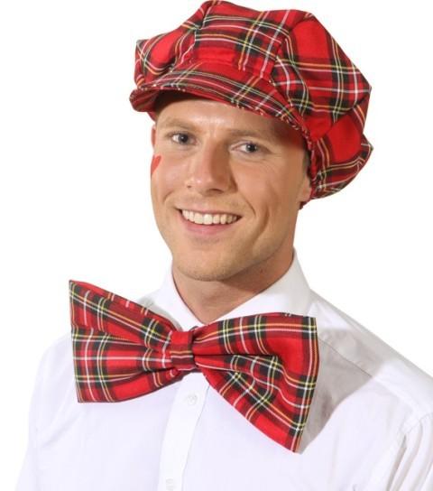 Faschingshut Mütze mit Schleife rot-kariert