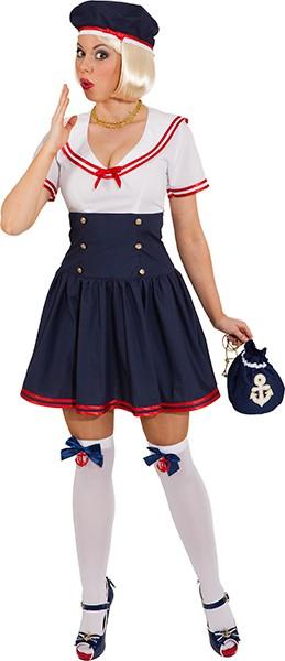 Matrosenmädchen (Kleid, Mütze) - Größe: 36 - 44