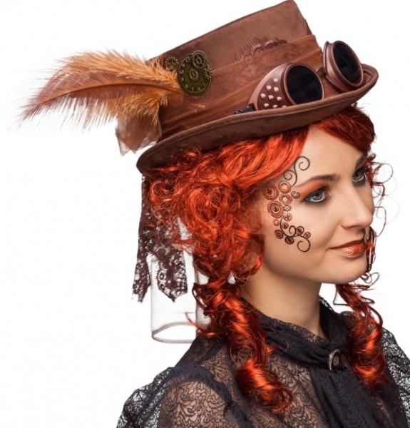 Fasching Hut Damen Zylinder Steampunk mit Brille - braun oder schwarz