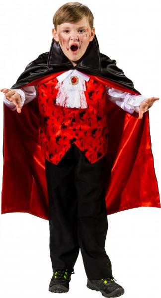 Fasching Halloween Kinder Vampir - Oberteil mit Umhang und Jabot
