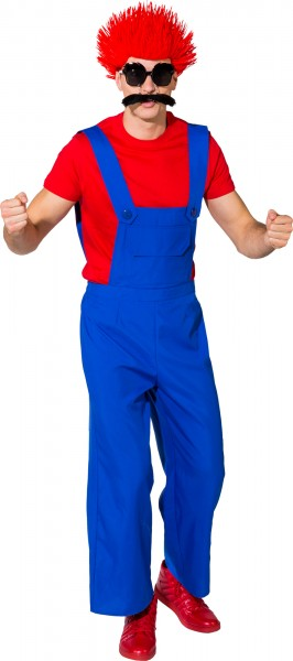 Fasching Kostüm Herren Latzhose - grün - rot - blau