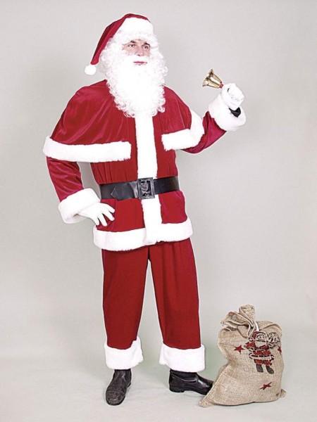 Weihnachtskostüm Weihnachtsmannanzug blau mit Gürtel, Pelerine und Luxusfellbesatz