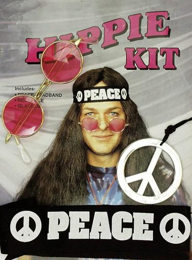 Faschingszubehör Hippie Boy-Set (Brille,Kette,Kopfband)