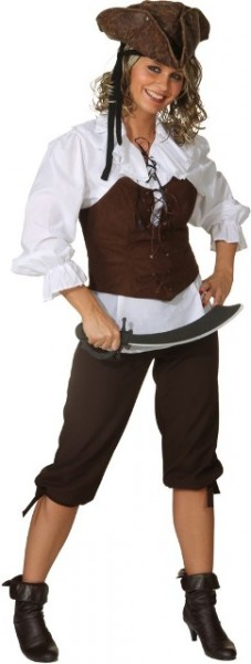 Fasching Kostüm Damen Kniebundhose braun - Piratin