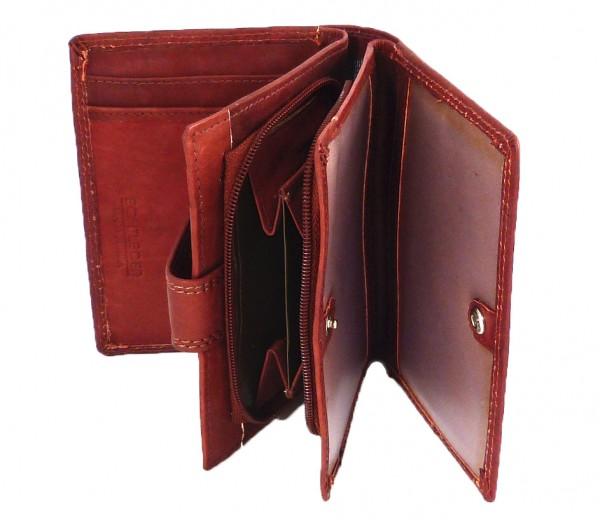 Herren Portemonnaie rotbraun Geldbörse mit 13 Fächern - Echt Leder