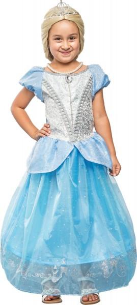 Fasching Kostüm Kinder Prinzessin blau-silber - Kleid mit Reifrock