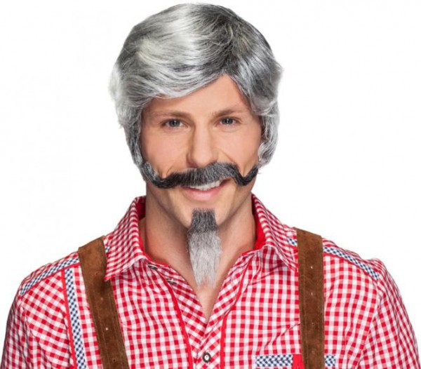 Bart grau 2-teilig, Kinn- und Schnurrbart