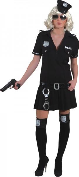 Police Girl, schwarz (Kleid, Gürtel) in den Größen 36 bis 44
