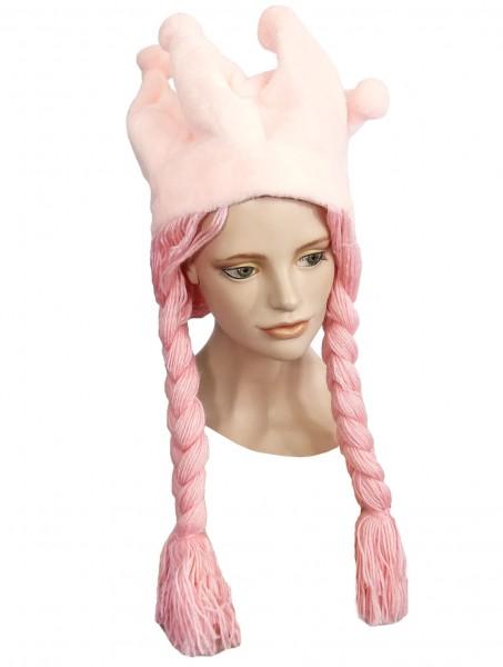 Plüschmütze Krone mit Zöpfen, pink
