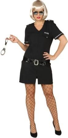 Polizistin Black Police Girl, schwarz (Kleid, Gürtel) in den Größen 34 bis 44