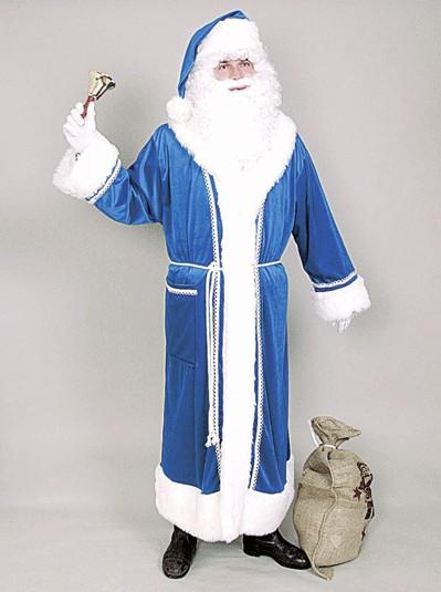 Weihnachtskostüm Weihnachtsmannmantel blau mit Gürtel, Schalkragen und Luxusfellbesazu