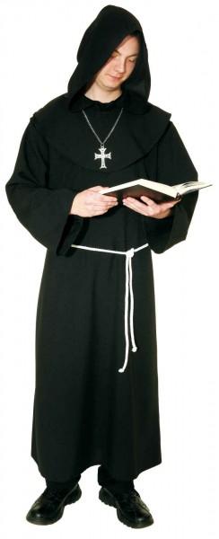 Mönch, schwarz (Kutte mit Kragen und Kordel) - Größe: 50 - 62