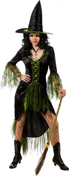 Fasching Halloween Hexenkleid mit Spitzhut schwarz-grün
