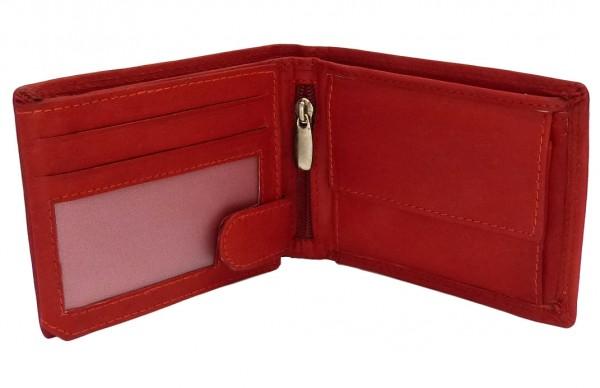Damen Portemonnaie Geldbörse rot mit 16 Fächern - Echt Leder