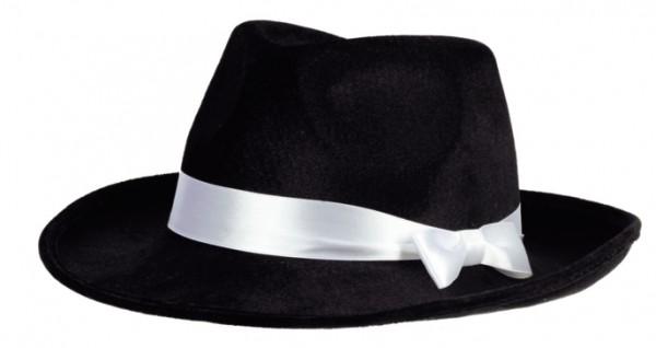 Faschingshut: Samthut schwarz mit weißem Band