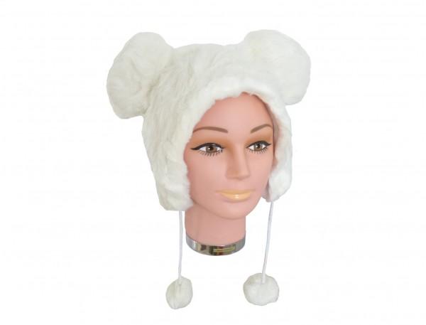 Tiermütze Plüsch Mütze Weiße Maus