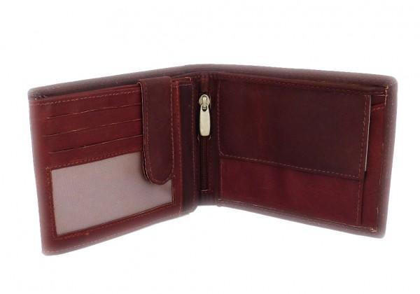 Portemonnaie / Geldbörse dunkelbraun mit 19 Fächern - Echt Leder