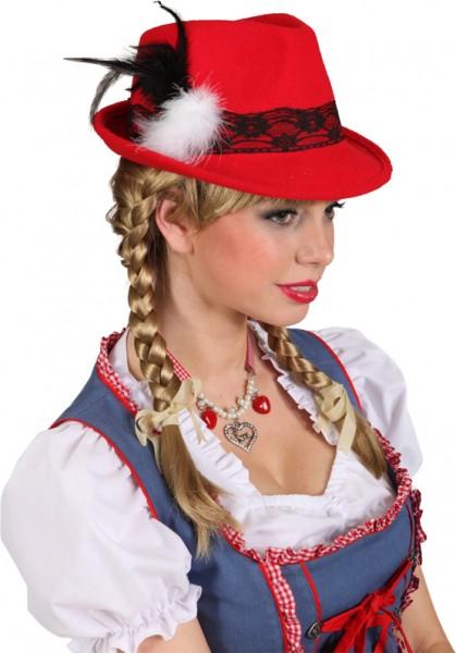 Faschingshut Damen Bayernhut Lady - rot oder flieder - Kw 58 - 100% Polyester