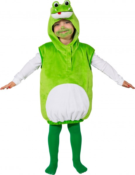 Fasching Kostüm Kinder Frosch Weste - Weste mit Kapuze Gr. 104