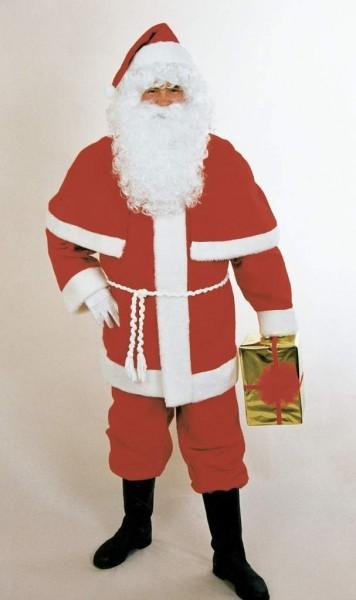 Weihnachtskostüm Weihnachtsmannanzug rot mit Gürtel & Perlerine