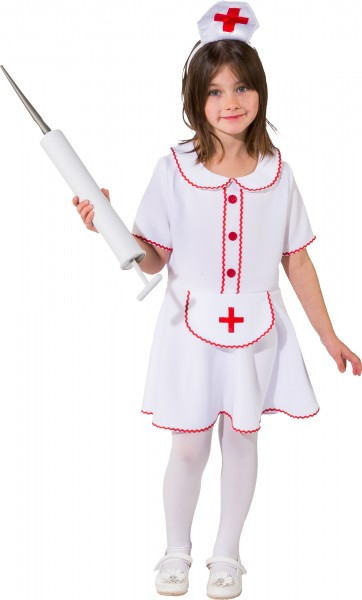 Faschingskostüm Kinder Krankenschwester - Kleid mit Schürze und Haube