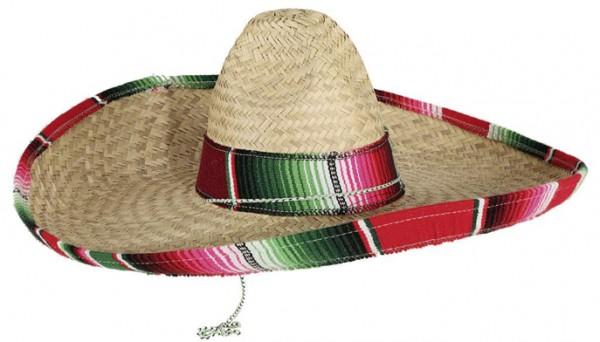 Faschingshut: Sombrero Mexiko, rot-bunter Rand - Kopfweite bis 59