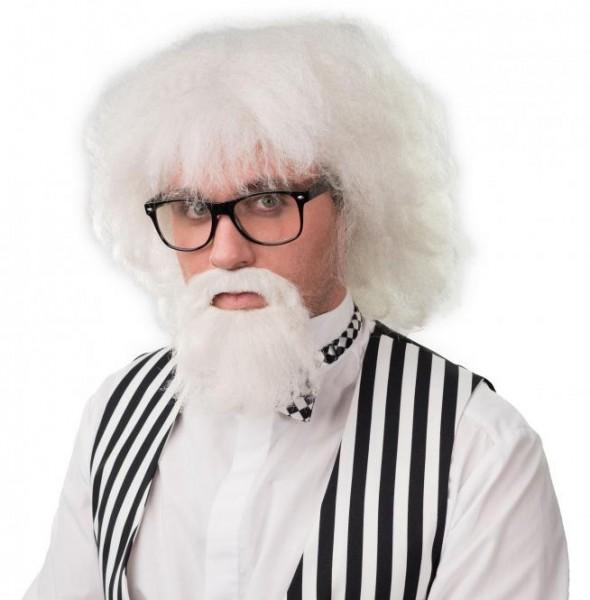 Fasching Perücke Herren weiß mit Brille und Bart