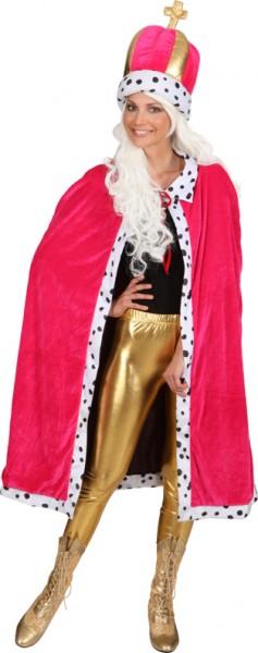 Königsmantel, pink mit Königsmütze - Größe: Unisize