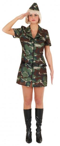 Faschingskostüm Damen Army Girl, Kleid Gürstel, Kappe