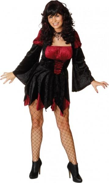 Hexe Melissa, weinrot-schwarz (Kleid) - Größe: 36 - 44