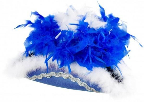 Faschingshut Damen/Kinder Funkenhut blau mit blau/weißer Boa
