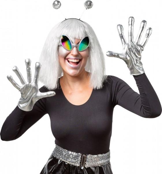 Fasching Set Alien - Handschuhe, Haarreif und Brille