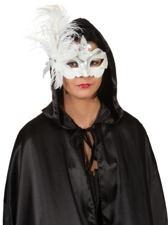 Faschings Halbmaske mit Feder, Farbe: weiß