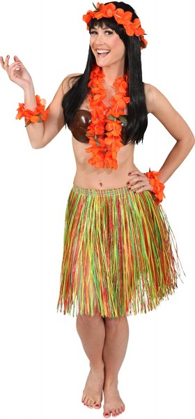 Hawaii-Set, orange 4-tlg. (Kette, Kopfband, Armbänder)