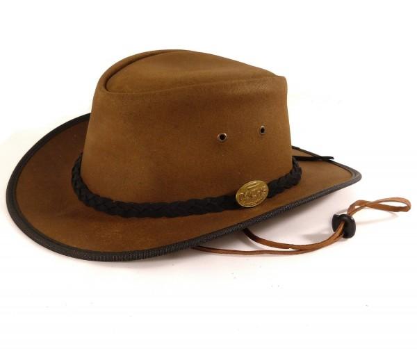 Echt Leder Outbackhut Cowboyhut Westernhut Braun - Double Ribbon Split