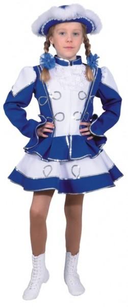 Funkenkostüm, blau-weiß mit Silberborte (Jacke und Rock) - Größe: 116 - 176