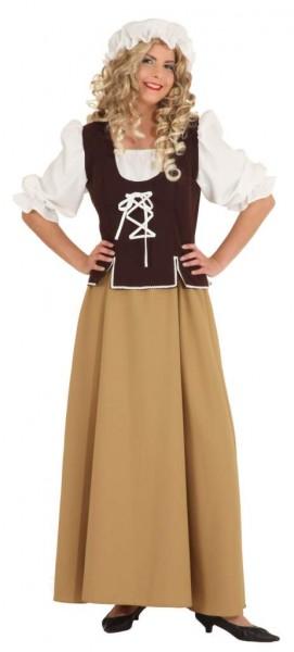 Faschingskostüm Mittelalter-Magd - Kleid mit Kopfbedeckung - Größe 38 bis 48