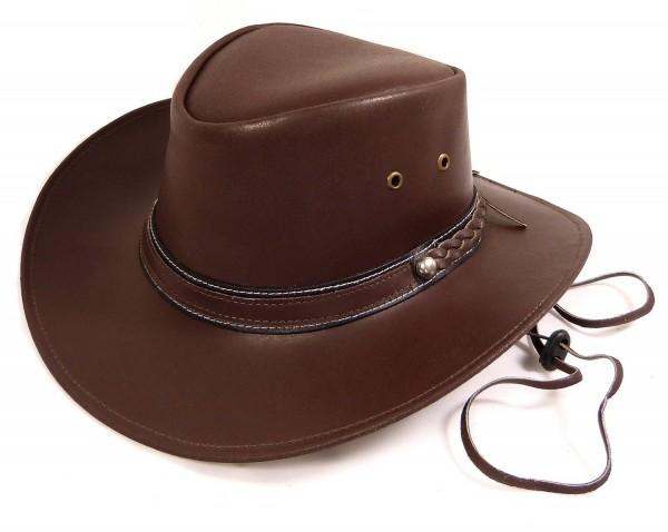 Echt Leder Outdoor Cowboyhut Westernhut Rotbraun - Redish Ribbon Split Leather