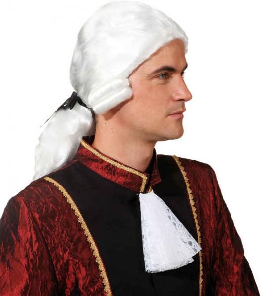 Fasching Perücke Herren Rokoko mit offenem Zopf weiß