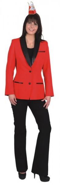 Damen Elferratsjacke, rot mit Satin-Schalkragen und Futterstoff - Größe 36 bis 48