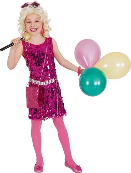 Pop Star Paillettenkleid, pink - Größe: 116/128 - 164/176