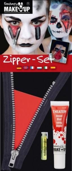 Zombie Set (Zipper, Blut, Kosmetikkleber)