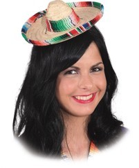 Faschingshut Minihut Sombrero multicolor mit Gummiband