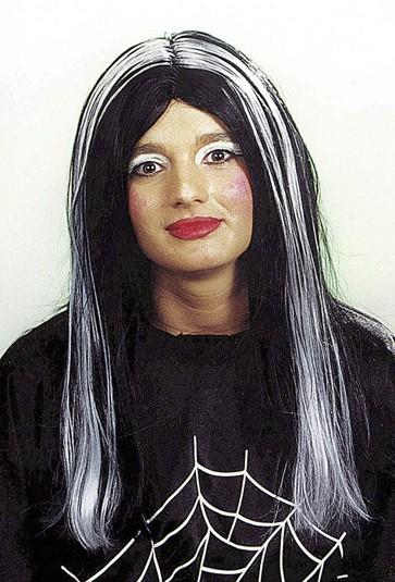 Faschingsperücke Damen Hexe schwarz-weiß