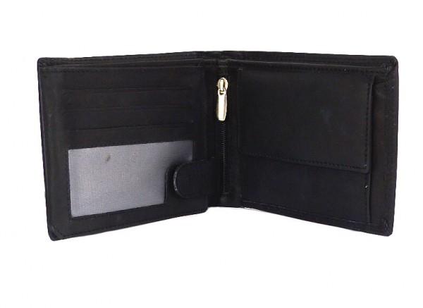 Herren Portemonnaie schwarz mit 16 Fächern - Echt Leder