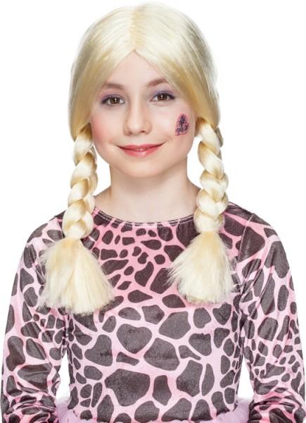 Faschingsperücke Kinder Gretchen, Farben: schwarz, blond