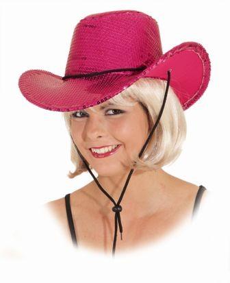 Faschingshut Damen Westernhut mit Pailetten pink